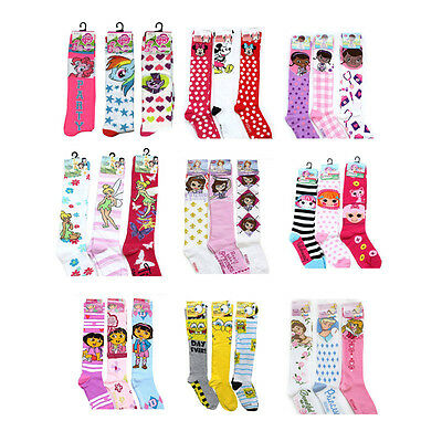 Disney Licensed Kids Girls Knee High Socks 3 Pair Size 6-8 Shoes Size 10.5-4 New