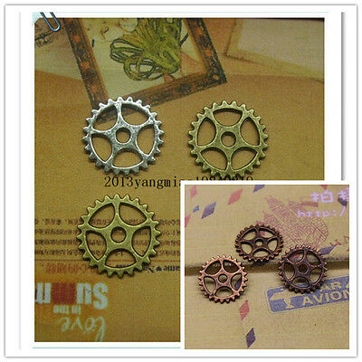 50/200pcs 15mm Antique  Lovely Filigree Gear Charms accessories link