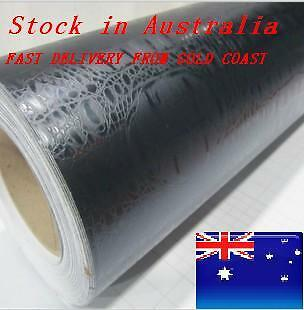 HN BUBBLE FREE Black Croc Skin Vehicle Vinyl Wrap 1.52m x 1m