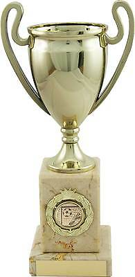 Football Trophies Gold Metallised Cup on Marble Award 3 Sizes FREE Engraving