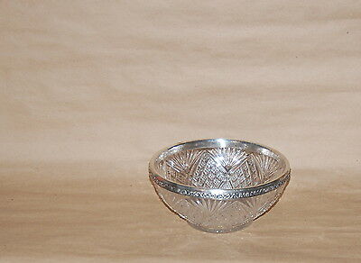 Antique Sterling Silver Rim Pressed Glass Serving Bowl