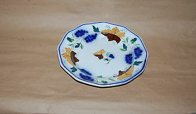 Antique English Pearlware Prattware Blue Grape Brown Leaf Pottery Plate