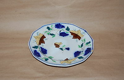 Antique English Pearlware Prattware Blue Grape Brown Leaf Pottery Plate AS IS