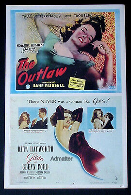 1946 Movie Lobby Card Poster Gilda Rita Hayworth + Jane Russell Outlaw + more!