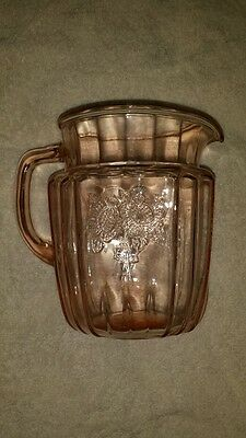 MAYFAIR OPEN ROSE PINK DEPRESSION GLASS PIT7/8 INCHES HIG