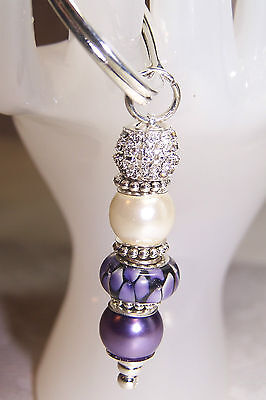 Purple Flowers Murano Rhinestone and Pearl Beaded Key Chain / Zipper Pull
