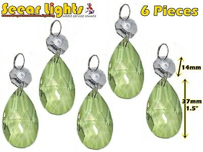 5 Chandelier Cut Glass Crystals Peacock Green Oval Drops Retro Droplets Beads Bn