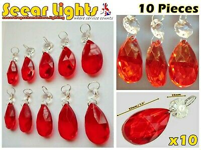 Red Chandelier Parts Cut Glass Crystals Antique Drops 10 Oval Prisms Light Beads