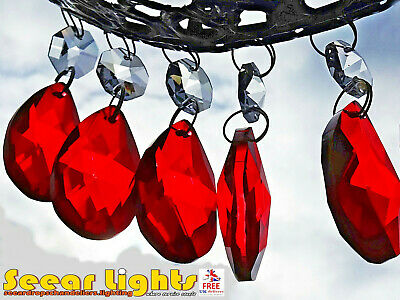 Red Chandelier Crystals 5 Droplets Glass Drops Vintage Oval Beads Light Parts