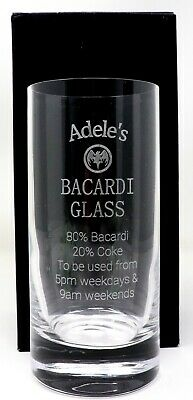Personalised BACARDI % Highball Glass Gift Nanny/Mum/Dad/40th/50th/60th Birthday