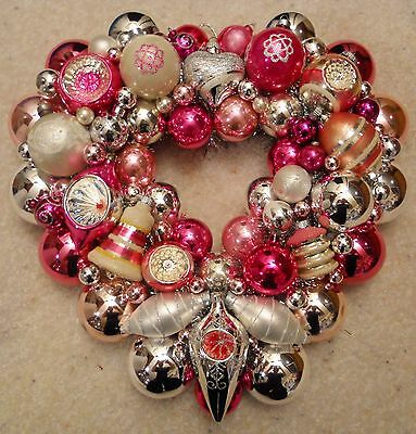 Pink/Silver Vintage Christmas Ornament Heart Wreath Mercury Glass 16""