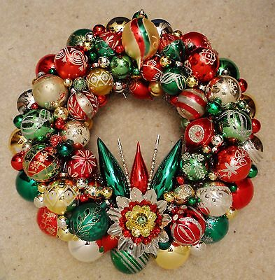Red/Green/Gold Vintage Christmas Ornament Wreath Shiny Brite Mercury Glass 17""
