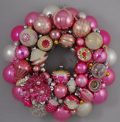 Pink Pastel Vintage Christmas Ball Ornament Wreath Shiny Brite Mercury Glass 16""