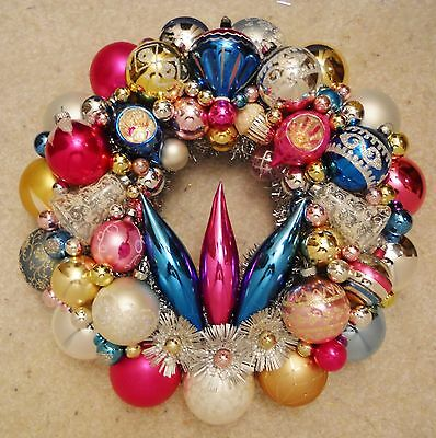 Gold Pink Silver Blue Vintage Christmas Ornament Wreath Mercury Glass 15.5""