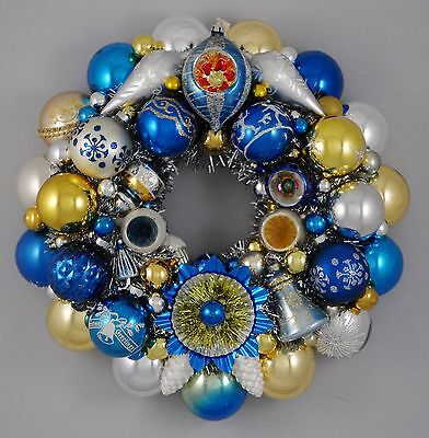Blue/Gold/Silver Vintage Christmas Ornament Wreath Mercury Glass 16""