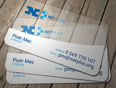 500 Custom PVC Plastic Business Cards Printing - Frosted Transparent W White Ink
