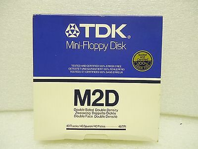 (New) TDK M2D Mini Floppy Disk Double Sided Double Density Box of 10