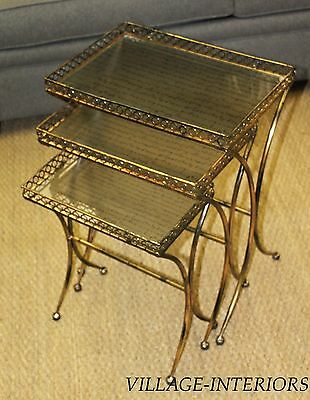 WILLOW METAL & GLASS FRENCH SCRIPT SET 3 NESTING END / SIDE TABLE /NIGHT STAND