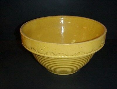 Antique Yellow Oven Ware Mixing Nesting Bowl Ribbed Large 10""