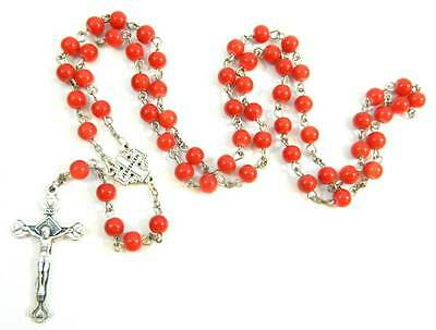 Red Cherry Painted Glass Beads Holy Pray Rosary Pewter Crucifix Cross RS83
