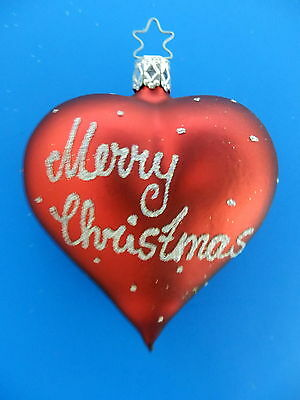 Inge Glas Merry Christmas Red Heart German Blown Glass  Tree Ornament