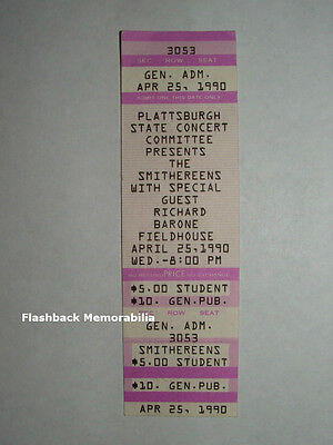 SMITHEREENS / RICHARD BARONE 1990 Concert Ticket PLATTSBURGH SUNY Fieldhouse