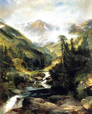 """Oil painting Thomas Moran - Mountain of the Holy Cross landscape with creek 36"""""""