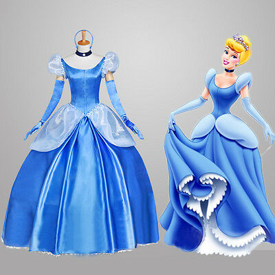 US SHIP! Adult Princess Cinderella Costume Deluxed Stage Fancy Dress S-XL