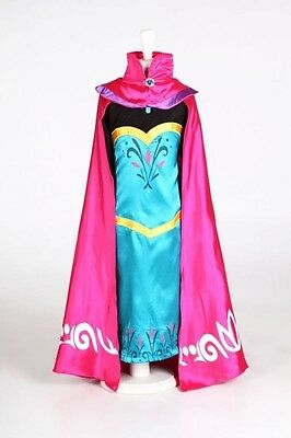 Girl Elsa Coronation Party Fancy Princess Dress Long Cape Deluxe Cosplay Costume