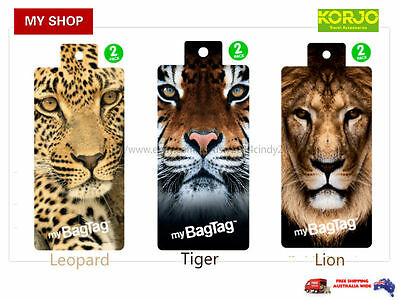 2 X ANIMALS SERIES Luggage Tags, school bag tags—SECURITY, FUN ID LABLE myBAGTAG