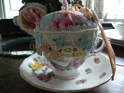 Vintage Royal Vale China Cup & Saucer Handmade Pin Cushion ~ Mothers Day Gift