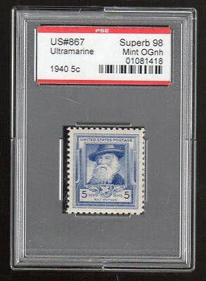US @ 867 (1940) 5c - PSE Graded: Sup98 - Mint OGnh (Encapsulated) Whitman