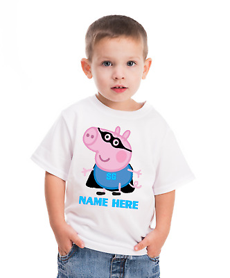 Super hero George Pig PERSONALISED  WHITE T SHIRT AGES 1 to 6