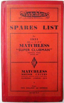 MATCHLESS Verticle Twin Super Clubman G9- Original Motorcycle Parts List - 1951