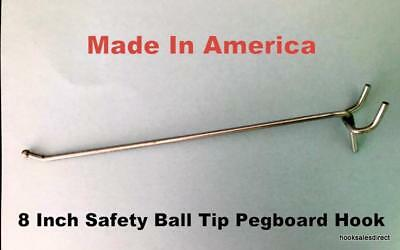 """(50 PACK) USA Made 8 Inch Metal Peg Hooks. For 1/8 to 1/4"""" Pegboard or Slatwall"""