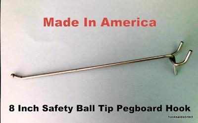 """(1000 PACK) USA Made 8 Inch Metal Peg Hooks.For 1/8 & 1/4"""" Pegboard or Slatwall"""