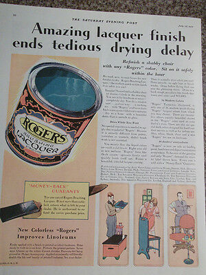 1931 Rogers Brushing Lacquer Ends Tedious Drying Delays Advertisement