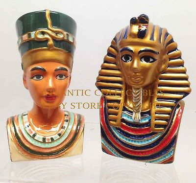 Salt Pepper Shakers King Tut Bust And Queen Nefertiti Ceramic Ancient Egyptian