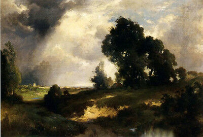 """Oil art Thomas Moran - The Passing Shower at sunset landscape in cloudy day 36"""""""