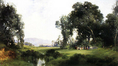 Oil art Thomas Moran - The Picnic people in beautiful landscape no framed canvas