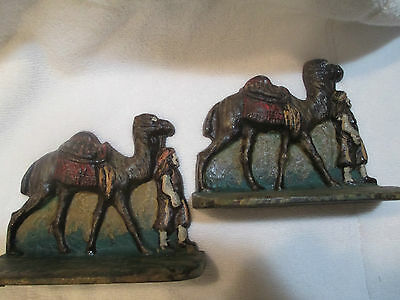 c1920 Pair Cast Iron Camel & Nomad Egyptian Revival Bookends Painted Dromedary