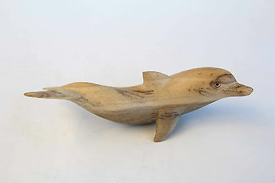 Single White Dolphin - Wooden Marine Statue - Hibiscus Wood