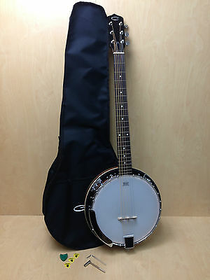 "38"" Caraya BJ-006 6-string,Remo head,Mahogany Resonator Banjo with free gig bag"