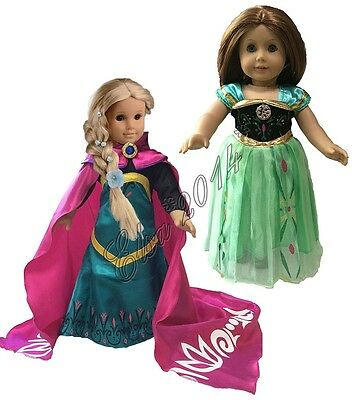 "2X Sets Elsa+Anna Coronation Dress Doll Clothes Dress For 18"" American Girl New"