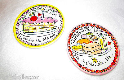 """NEW! 2 DUTCH POTTERY BLOND AMSTERDAM 4.5"""" SMALL PLATES SMALL TALK COLLECTION"""