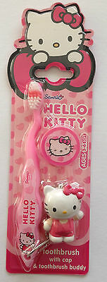 Cute Pink Childrens 3-6 Years Pink Hello Kitty Toothbrush Set Mascot New Sealed