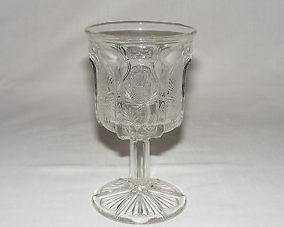 ANTIQUE VICTORIAN C 1895 EARLY CANADIAN THISTLE PRESSED GLASS Eagp GOBLET