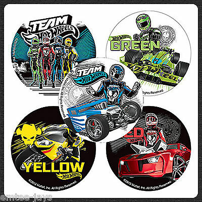 Hot Wheels Team Stickers x 5 - Birthday Favours - Hot Cars/Racing - ROUND