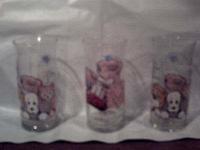 E.T. THE EXTRA TERRESTRIAL LOT OF 3 GLASSES 1982 COLLECTORS SERIES 12 ounces