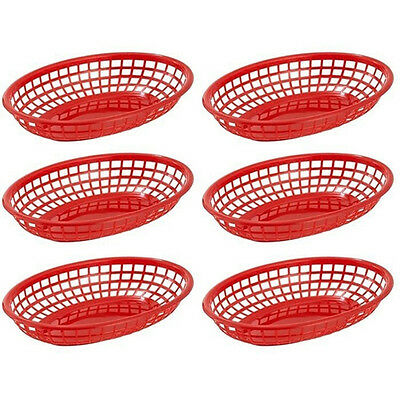 6 Red French Fries Baskets Plastic Sandwich and Fry Serving Tray Hot dog Picnic